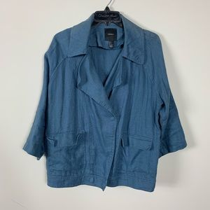 Blue dressy jacket snap button forever 21